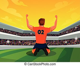 Celebration and Winning Concept: Rear View of Soccer Player in stadium showing hand up. Light, stands, fans. Vector Illustration