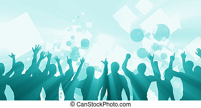 Celebration Background with People Cheering and Celebrating