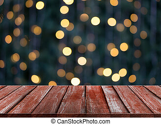 celebration background of Wood table on colorful light bokeh