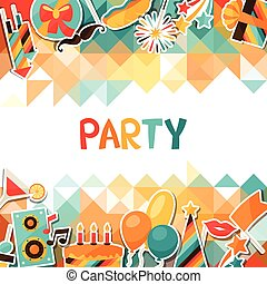 Celebration background with party sticker icons and objects....