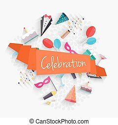 Celebration background with ribbon and party entertainment holiday elements.  Vector illustration