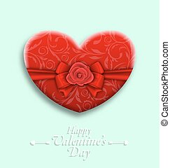 Celebration Background with Wishes for Valentines Day with Gift Box in Heart Shaped