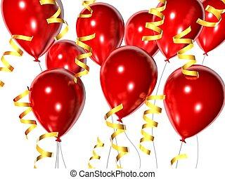 celebration balloons - 3d renered illustration of red...