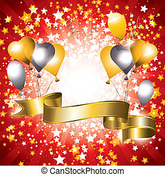 Celebration banner - Shiny celebration banner with gold and...