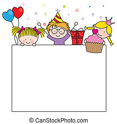 Celebration birthday card. children with a blank sign