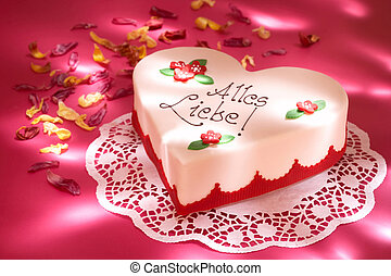 celebration cake - heart-shaped cake with blossoms