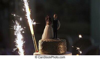 Celebration cake slowmotion - Celebration wedding cake...
