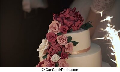Celebration cake slowmotion - Celebration wedding cake...