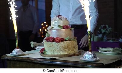 Celebration cake with fireworks