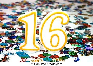 Celebration Candle - Number 16