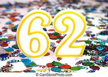 Celebration Candle - Number 62 - Number 62 celebration...