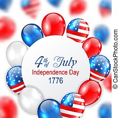 Celebration Card for Independence Day of USA with Balloons in American National Colors