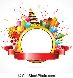 illustration of celebration card with cake, balloon and gift boxes