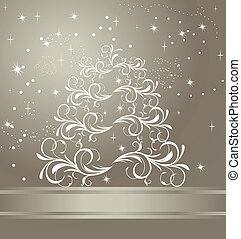 Celebration card with abstract christmas floral tree - vector