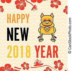 Celebration Card with Earthen Dog for Happy Chinese New Year 2018