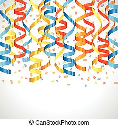 Celebration carnival background design with colored streamers