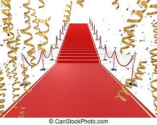 celebration carpet - 3d rendered illustration of a red...