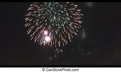 Celebration colorful fireworks. New Year holidays salute. 4th of July,
