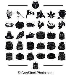 celebration, cooking, vegetables and other web icon in black style.biscuit, dessert, delicacy icons in set collection.