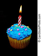 Celebration Cupcake with Candle - Celebration cupcake with...