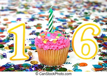 Celebration Cupcake with Candle - Number 16 - Number 16...