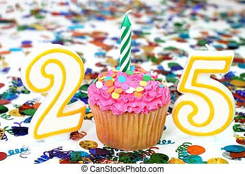Celebration Cupcake with Candle - Number 25