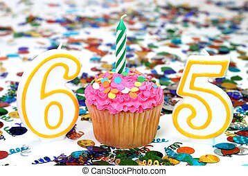 Celebration Cupcake with Candle - Number 65