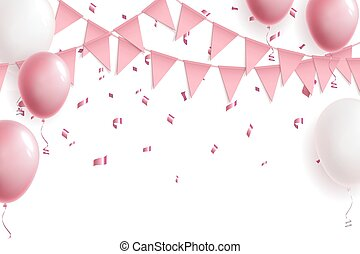 Celebration cute pink background with balloons, flag garland and foil confetti