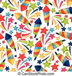 Celebration festive seamless pattern with colorful fireworks