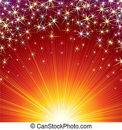 Celebration - Festive vector background with Firework sparks