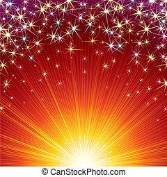 Celebration - Festive vector background with Firework sparks