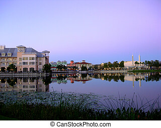 Celebration Florida - the town of Celebration at dusk