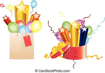 Celebration Gifts - Bright festive balloons, 3d stars coming...