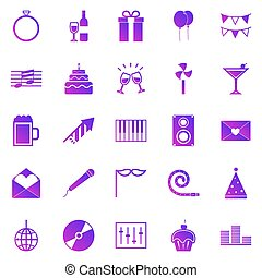 Celebration gradient icons on white background
