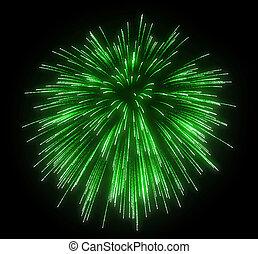 Celebration: green festive fireworks