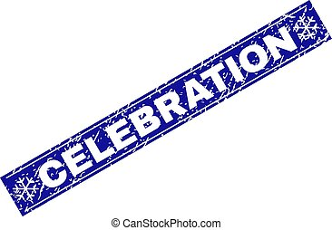 CELEBRATION Grunge Rectangle Stamp Seal with Snowflakes