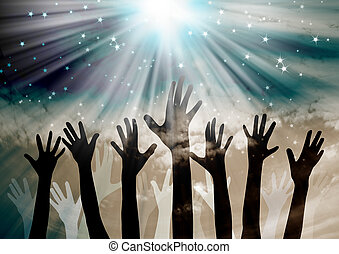 Hands reaching in the sky with stars background