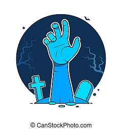 Happy Halloween. Zombie hands sticking from out the ground...