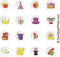 Celebration icons, cartoon style