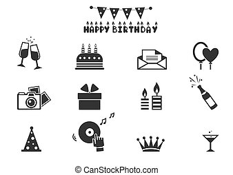 Celebration icons - Illustration - Celebration icons -...