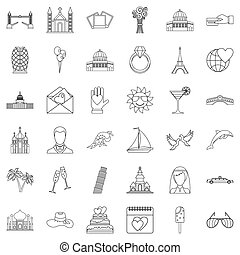Celebration icons set, outline style - Celebration icons...