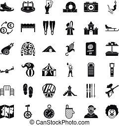 Celebration icons set, simple style