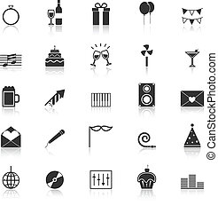 Celebration icons with reflect on white background