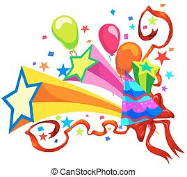 Celebration, illustration - Celebration with balloons, stars...