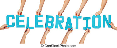 Celebration lettering on white - Turquoise blue uppercase...
