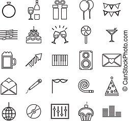 Celebration line icons on white background