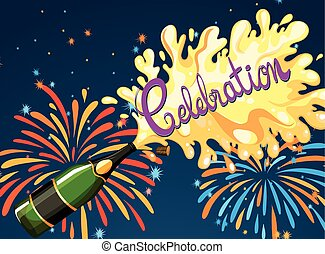 Celebration night with firework and champagne