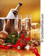 celebration., nuevo, champaña, año