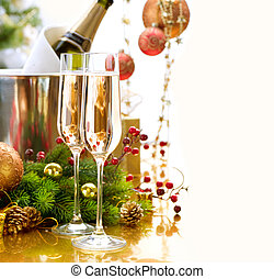 celebration., nuovo, champagne, anno