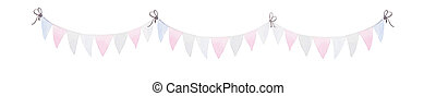 Celebration of American Independence Day. Watercolor Bunting Flags